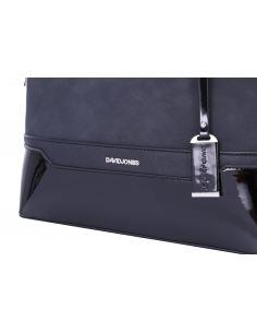 Grand sac à main cabas effet saffiano avec zip et soufflet sur les côtés et détails dorés