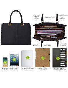 Grand sac à main cabas imitation cuir lisse avec pompon et boule fourrure