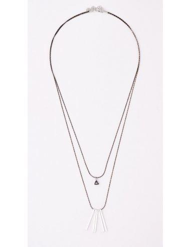 Collier sautoir avec pendentifs en forme de losange strass blanc et gris