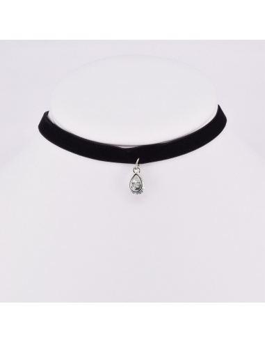 Collier choker ras de cou double rang avec anneaux et tige longue