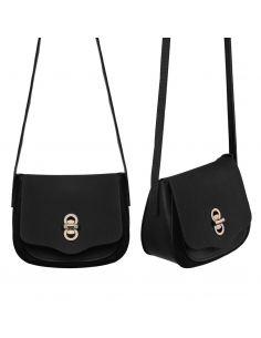 Grand sac bandoulière à rabat muni d'une grande anse à tresses - Fond à soufflet zip pour agrandir le sac à main