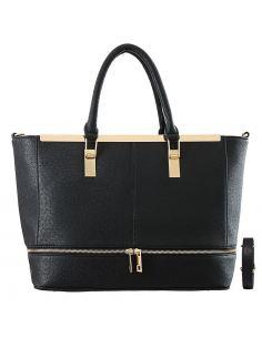 Grand sac cabas zip bi-couleur