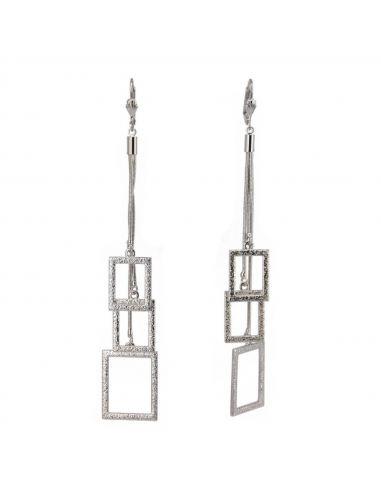 Boucles d'oreilles pendantes rectangle