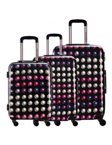 Set Valise Cabine Ryanair + Mallette Vanity - Bagage à Main 55x35x20 Toile Souple 2 Roues - Lot Trolley Motif