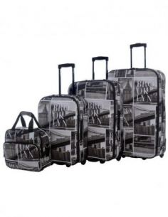 Set de 3 Valises Toile Souple + Mallette Vanity - Lot Trolley Bagage à Main Cabine 2 Roues - Sac Voyage Motif BROOKLYN