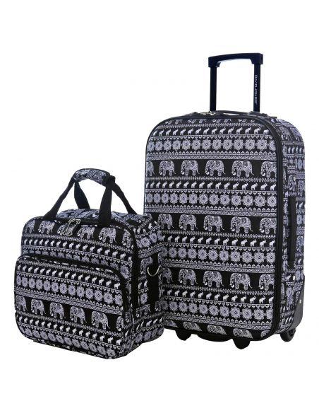 Set Valise Cabine Ryanair + Mallette Vanity - Bagage à Main 55x35x20 Toile Souple 2 Roues - Lot Trolley Motif ELEPHANT