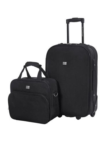 Set Valise Cabine Ryanair + Mallette Vanity - Bagage à Main 55x35x20 Toile Souple 2 Roues - Lot Trolley Motif NOIR