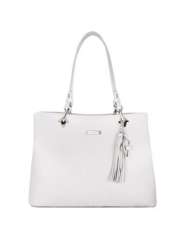 David Jones - Grand sac à main porté épaule femme cuir PU Blanc