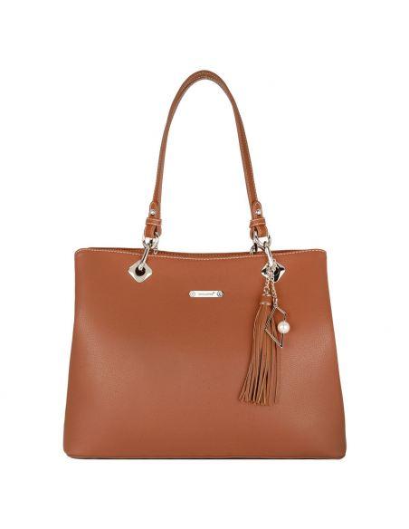 David Jones - Grand sac à main porté épaule femme cuir PU Marron Camel