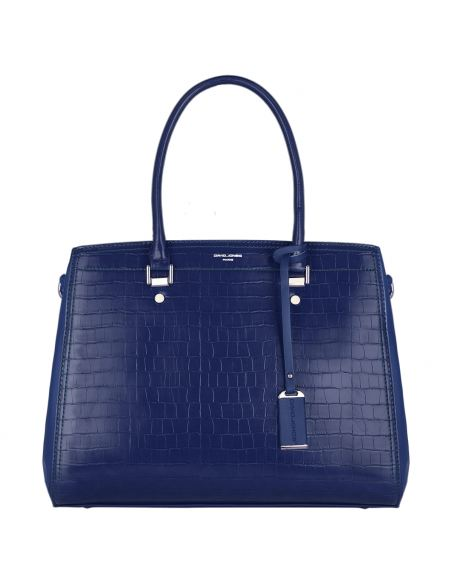 David Jones - Grand Sac à Main Cabas Motif Crocodile Bleu