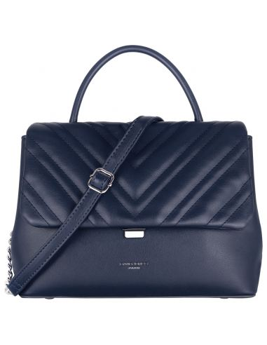David Jones - Sac à main femme - Rabat matelassé en chevron bleu