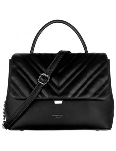 David Jones - Sac à main femme - Rabat matelassé en chevron noir