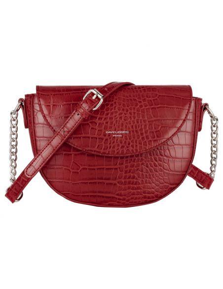 David Jones - Petit sac à main bandoulière cuir crocodile pour femme - Rouge