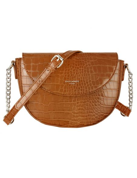 David Jones - Petit sac à main bandoulière cuir crocodile pour femme - Marron Cognac
