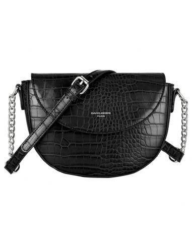 David Jones - Petit sac à main bandoulière cuir crocodile pour femme - Noir