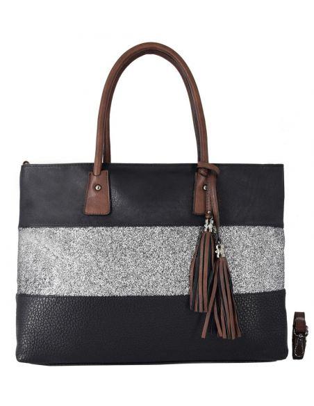 Grand sac shopping à bandes et paillettes