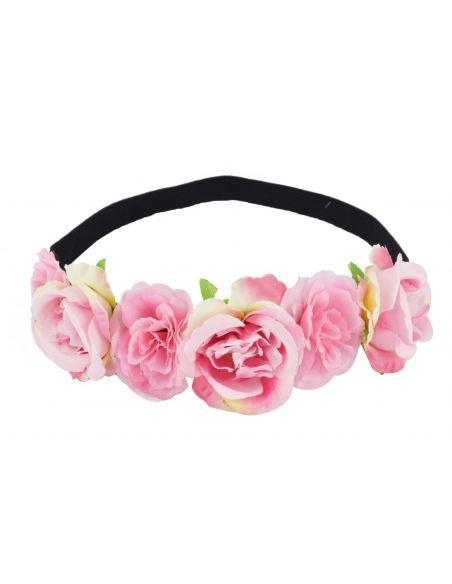 Bandeau élastique en couronne de fleurs