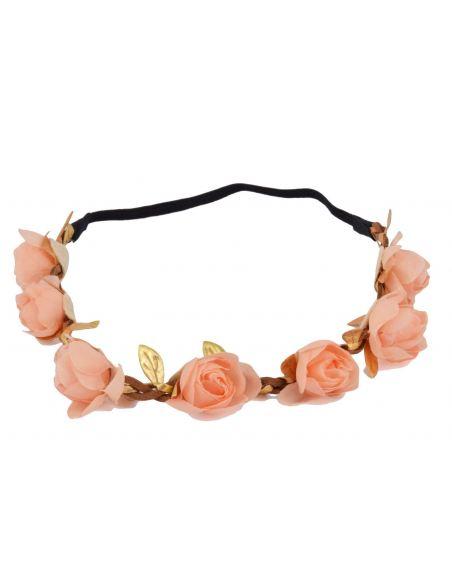 Headband en couronne de fleurs et feuilles dorées