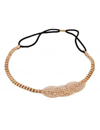 Headband métal orné de 3 feuilles dorées